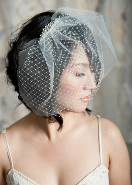Wedding hairstyles for short hair with veil above short wedding hairstyles with birdcage veil with short black hair the birdcage veil placed at the top of the classy updo will create a unique junglespirit Choice Image