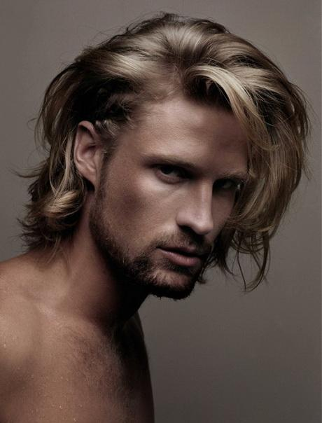 Medium Layered Haircuts Men Blonde Image