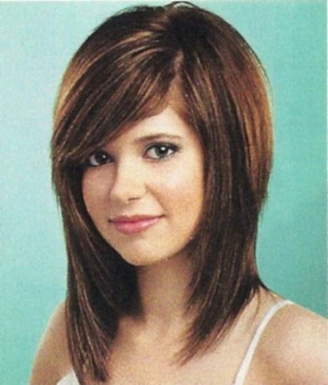 Medium length haircuts with side swept bangs