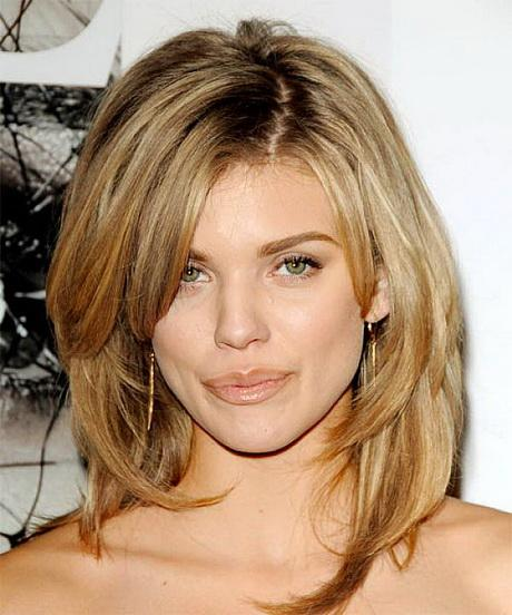 Straight Blonde Layered Haircuts | … length layered shag hairstyles with side bangs for