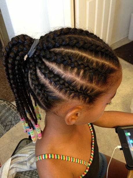 Cornrows With Braided Haircut Black Little