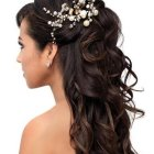 Hair design for long hair for weddings
