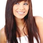 Layered hair with side bangs