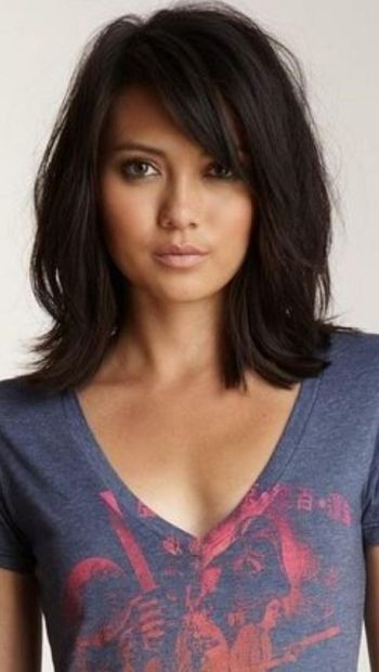 Shoulder length hair with bangs and layers