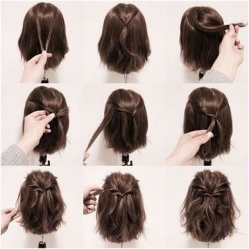 Easy half up half down hairstyles for short hair
