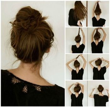 Simple hairstyle at home for medium hair