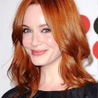 Shoulder length red hair