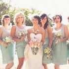 Bridesmaids with different hair styles