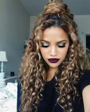 Cute half up half down hairstyles for curly hair