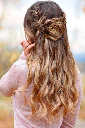 Prom half updos for long hair