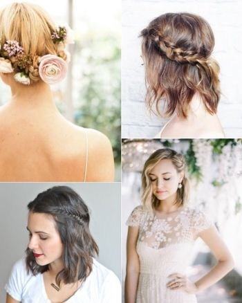 Short bob bridal hairstyles
